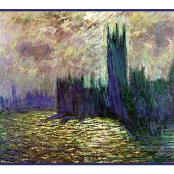 Houses of Parliament inspired by Claude Monet's impressionist painting Counted Cross Stitch or Counted Needlepoint Pattern