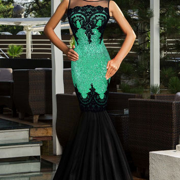 Green Sequin Lace Patchwork Mermaid Evening Dress