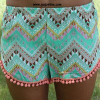 Shake Your Pom Poms Green Chevron Shorts