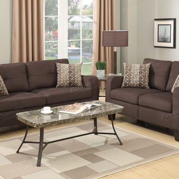 Poundex F6923 2 pc collette II collection chocolate linen like fabric upholstered sofa and love seat set