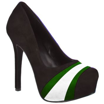 HERSTAR™ Black Green White Team Color Suede Pumps
