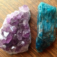 Crystal Set Amethyst Geode and Blue Apatite Crystal Stone Pair Crystal Collection Healing Crystals and Stones Healing Gems Chakra Stones