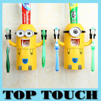 2015 new Cute Minions Design Set Cartoon minecraft Toothbrush Holder Automatic Toothpaste Dispenser with Brush Cup+Free Shipping
