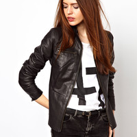 Just Female Peplum Leather Jacket