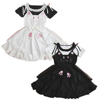 Black/White Meow meow Kitty Dress 2 pieces set SP152504