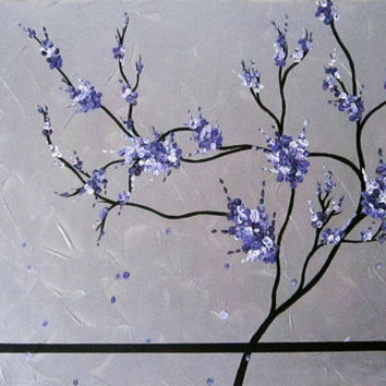 Silver White Lilac Purple Violet and black Japanese Tree Blossom Art impasto painting on canvas ready to hang fine art by Judith Yabut