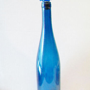 Blue Glass Bottle with Star Topper Fourth of July Memorial Day Country Farmhouse Decor