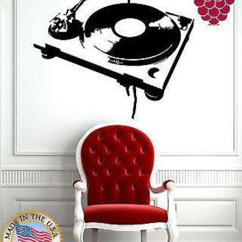 Wall Stickers Vinyl Decal Music Antique Turn-Table Phonograph Gramophone  Unique Gift EM560