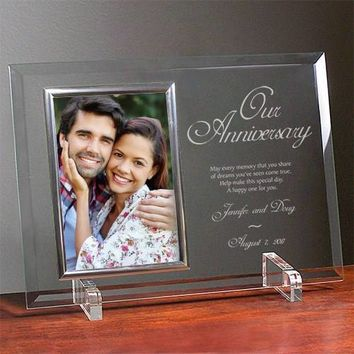 Free Engraving Personalized Bevelled Glass Frame with Message