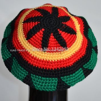 Fashion Punk Jamaica Reggae Knitted Hat Hip Hop Rasta Friendship Bob Marley Style Beanies Skullies Cap Black Yellow Red Green