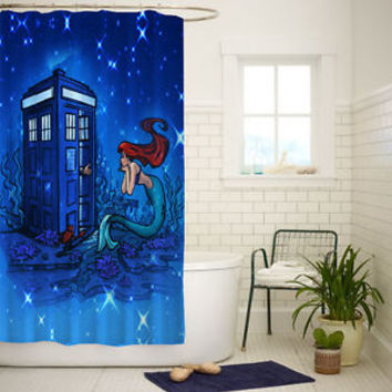 Doctor Who Meets Disney Tardis Ariel Custom Shower Curtain Size 60x72 and 66x72