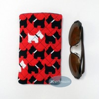 Scottish Terrier Sunglass Case or Cell Phone Pocket, Pink or Red Scottie Dogs