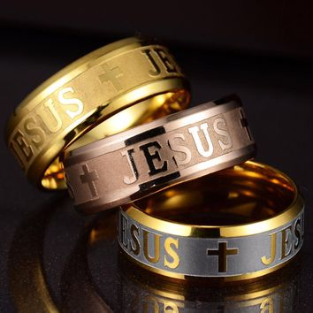 Gold Golden Plated 316L Stainless Steel Finger Superman  Ring For man Women Jesus Cross Rings Fashion Religious Jewelry Gift