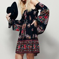 Black Floral Bandeau Long Sleeve Streetwear Chiffon Mini Dress