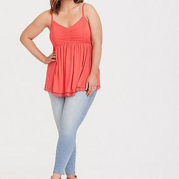 Super Soft Coral Ruched Babydoll Cami