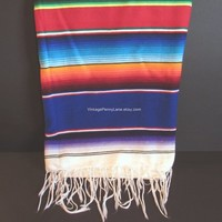 Vintage Mexican Rainbow Throw Blanket, Sarape / Saltillo, Boho / Bohemian