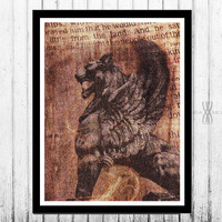 Conquerer, 18x24 Lion Wall Art, Scripture, Lion Art, Winged Lion, Wall decor, Sepia Print, Christian Wall Art, Digital Collage Art,