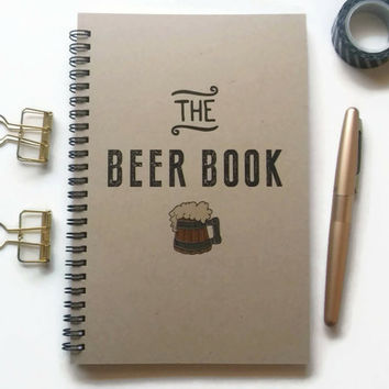 Writing journal, spiral notebook, Bullet journal, brown kraft journal, lined blank grid pages - The beer book, beer makers gift, brew log