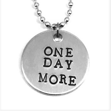 Les Miserables Broadway Musical Hand Stamped One Day More Aluminum Necklace