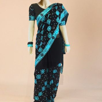 gorgeous 2-tone georgette saree with extensive turquoise beadwork
