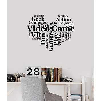 Vinyl Wall Decal Gamer Heart Words Cloud Gaming Art Geek Room Stickers Mural (ig5402)