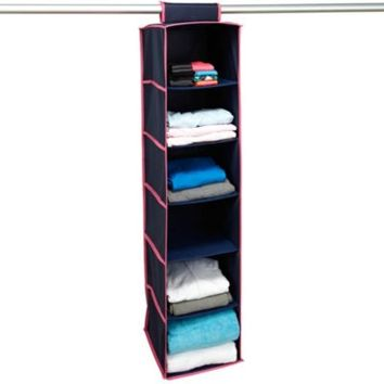 The Macbeth Collection 6-Shelf Hanging Closet Organizer in Navy