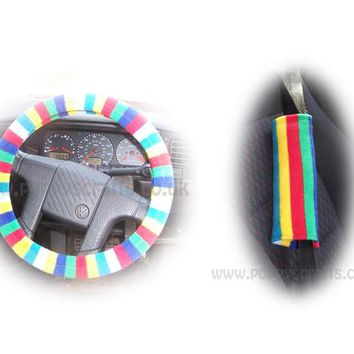 Rainbow Striped fleece steering wheel cover and matching Rainbow fleece seatbelt pads