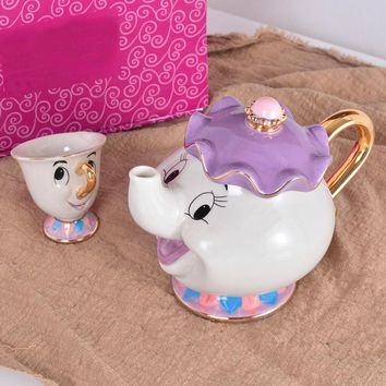 Beauty And The Beast Tea Set Teapot Cup Mrs Potts Chip Bela E A Fera Pot Mug Kettle Milk Coffee Creative Gift With Logo