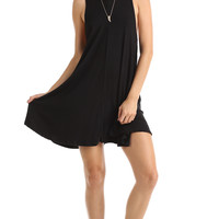 BLACK DEEP CUT TANK DRESS