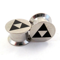 "Tri Force Internally Threaded Steel Plugs 2g (6mm) 0g (8mm) 00g (10mm) 1/2"" (12mm) 9/16"" (14mm) 5/8"" (16mm) 18mm 20mm 22mm 24mm Ear Gauges"