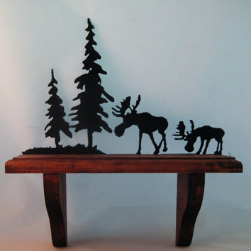 Wooden Shelf with Moose & Pine Trees Metal Art