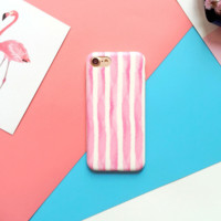 Lovely simple pink stripes Phone Case Cover for Apple iPhone 7 7 Plus 5S 5 SE 6 6S 6 Plus 6S Plus + Nice gift box! LJ160914-001
