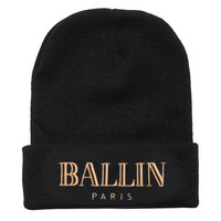 ALEX AND CHLOE / BALLIN IN PARIS - BEANIE - BLACK W/GOLD : ALEX & CHLOE