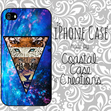 Blue Galaxy Space Lion and Tiger Apple iPhone 4 and 5 Hard Plastic or Rubber Phone Case Cover Original Design