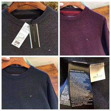 DCCKB62 Tommy Hilfiger Fashion Men Warm Pullover Knitwear Grid Color Matching Sweater G-G-JGYF