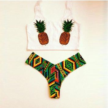 CREYONX5H Sexy Pineapple Tank Top Swimwear Bathing Suit Swimsuit Bikinis Set