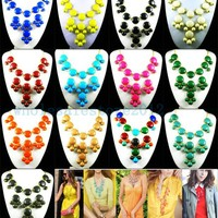 Hot sell Women Bubble Bib Statement Fashion Chain Necklace Choose From 13 Colors