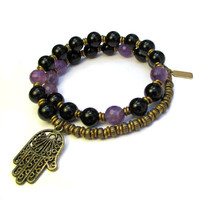 Soothing and Healing, Genuine Onyx and Amethyst 27 bead wrap mala bracelet™
