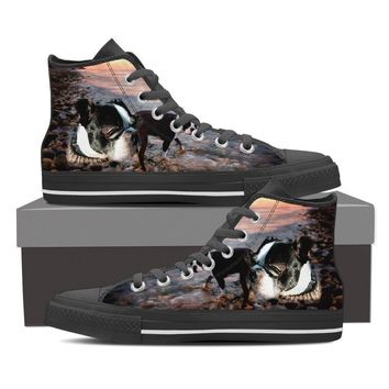 Boston Terrier Dog Print High Top Canvas Shoes For Women- Free Shipping