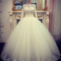 Sheer Neck Long Sleeves Wedding Dress Bridal Gown Custom Size 0 2 4 6 8 10 12