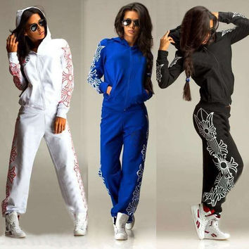Women 2Pcs Hoodies Sweatshirt Pants Sets Casual Tracksuit Jogging Gym Sport Suit = 1932149124