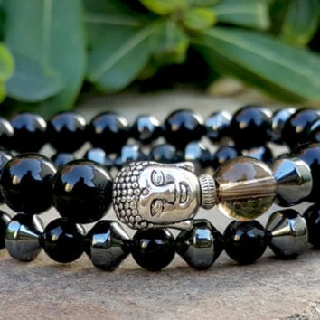 2 pcs Buddha Bracelet, Mens Bracelet, Black Onyx, Hematite, Gemstone Yoga Bracelet Set for Men, Grounding, Protection and Positive Energy,