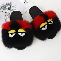 FENDI Fashion Women Cute Little Monsters Fur Flats Sandals Slipper Shoes Black