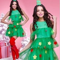 Women Fashion Sleeveless Frills Gauze Mini Dress Cosplay Christmas Tree Clothes Uniform