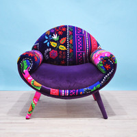 Smiley patchwork armchair - purple love