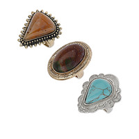 Antique Stone Ring Pack - New In This Week - New In - Topshop