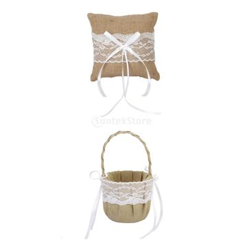 SPMART Burlap Jute & Lace Flower Basket, Ring Bearer Pillow 15cm Rustic Country Wedding