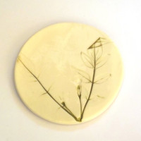 Handmade Porcelain Coasters Pressed with Flowers and Leaves - Wedding Present Christmas Gift Home Decor