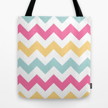 Spring Pastel Chevron Stripes Tote Bag by KCavender Designs