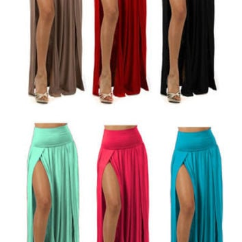 PLUS SIZE High Split Band Waist with Double Leg Two Split Full Length Maxi Skirt